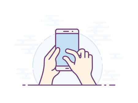 pinching: Touch screen zoom gesture icon for smartphone. Vector icon for a mobile app user interface or manual. Smartphone screen with gesture. Hand holding smartphone, finger touching screen. Vector illustration Illustration