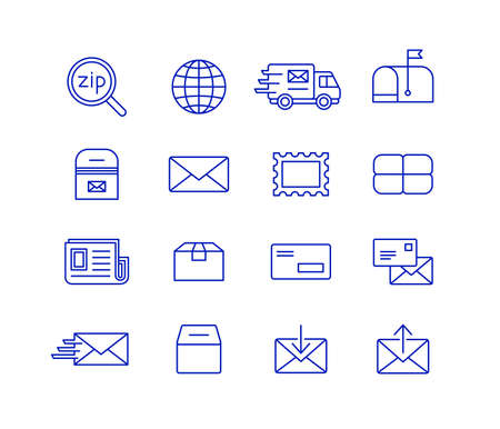 moving box: Mail and postal service icon set. Fast delivery transporting documents and small packages. Post and mail icons Illustration