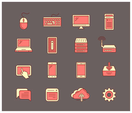 security monitor: Universal computer icon set Illustration