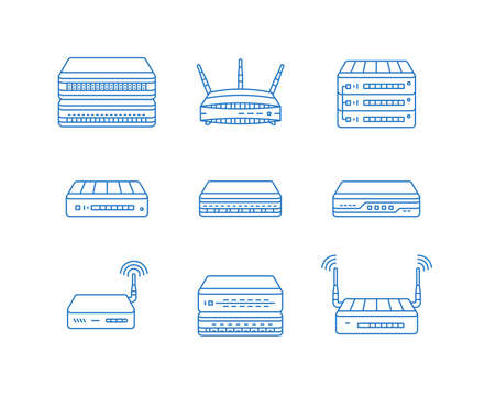 Wireless access points, routers and other network devices icon set. Illustration