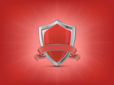 Protection concept. Red glossy shield with ribbon on red background with light beams. Vector illustration.