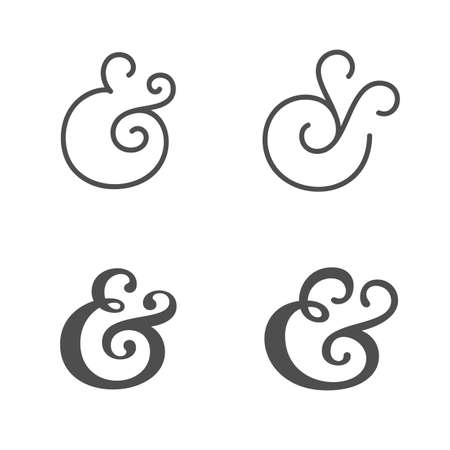 Collection of elegant and stylish custom ampersand.   Vector illustration