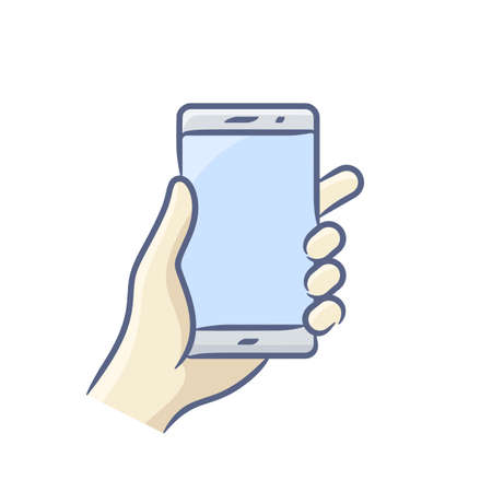 Hand holding smartphone vector illustration. Touch screen gesture icon for smartphone. Vector icon for a mobile app user interface or manual Standard-Bild - 99017138