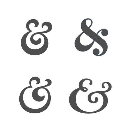 Collection of elegant and stylish custom ampersand. Decoration ampersands. Vector illustration