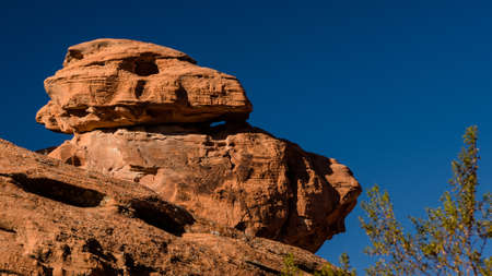 eagle canyon: Eagle like rock formation on Mouse Tank Canyon trail in the Valley of Fire State Park Nevada Stock Photo