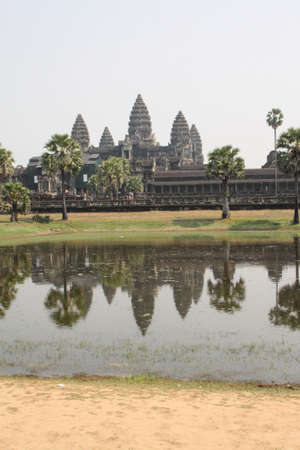 Angkor Wat is reflected in a lake