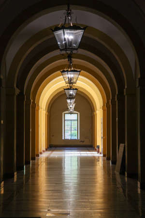 Corridor with arches at an old tabaco factory in Spain