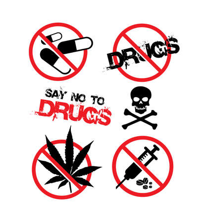 treatment plant: No drugs signs icons.