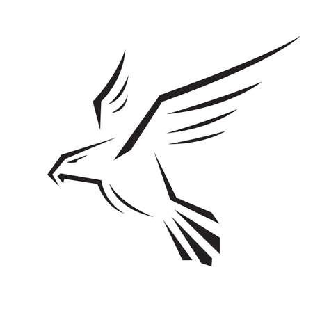 Hawk Falcon Eagle Vektor-Design-Symbol Abbildung Vorlage