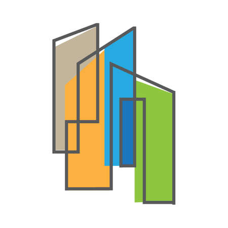 thin sign of building house Modern Real estate Apartment flat line Vector icon