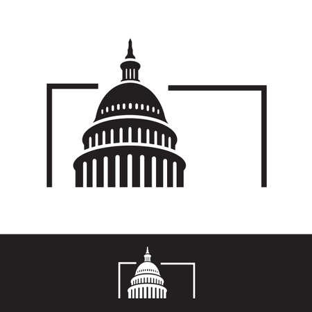conception de vecteur de bâtiment de capitole américain simple et créatif