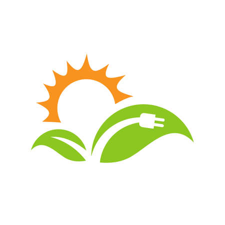 Green energy electric plugs and leaves vector icon design template
