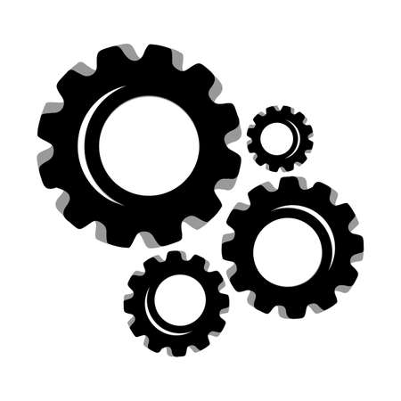 Gears and cogs vector illustration in black and white styles Иллюстрация