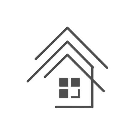 Modern house Real estate Apartment flat line building Vector icon