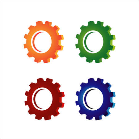 set of colorful gear and cogs design vector illustration