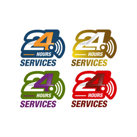 24 hours service sign vector icon day night services button symbol