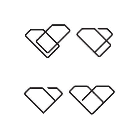creative style geometric shape diamond line art vector icon