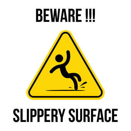 yellow triangle caution slippery floor logo sign vector