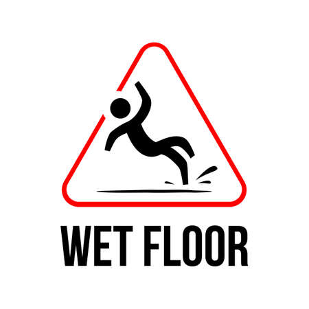 Wet Floor logo sign vector yellow triangle with falling man illustration Stok Fotoğraf - 128510225