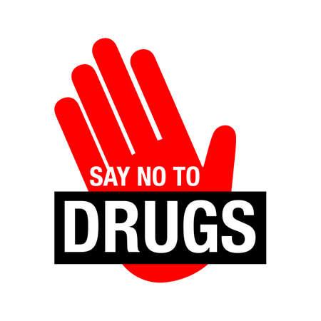 Dì no alle scritte sulla droga. Non sono ammessi farmaci. Icona di farmaci nel cerchio rosso di divieto. Basta dire no illustrazione vettoriale isolato su sfondo bianco