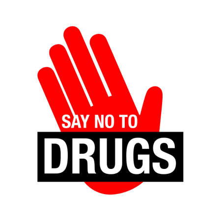Say no to drugs lettering. No drugs allowed. Drugs icon in prohibition red circle. Just say no isolated vector illustration on white background Foto de archivo - 128510620