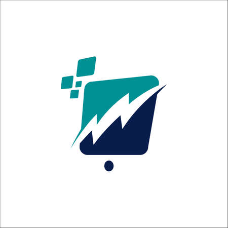 digital signage pixel icon tech vector logo element illustration