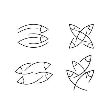 simple line fish logo design vector icon isolated on white background Illustration