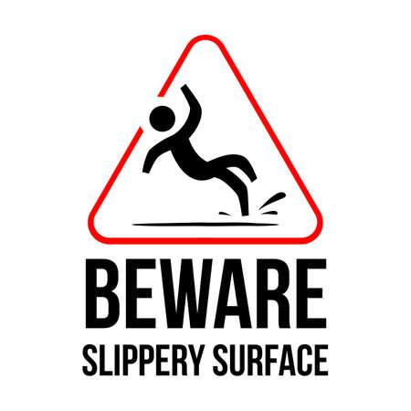 yellow triangle caution slippery floor logo sign vector Stok Fotoğraf - 128511742