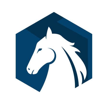 emblem of horse head Logo Template Vector illustration design
