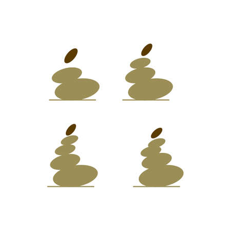 Zen stones logo vector sign icon for therapy for beauty health and relaxation illustration of natural stoning treatment Stock Illustratie
