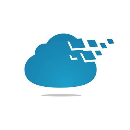Digital Tech Cloud Logo design sign Vector Illustrations