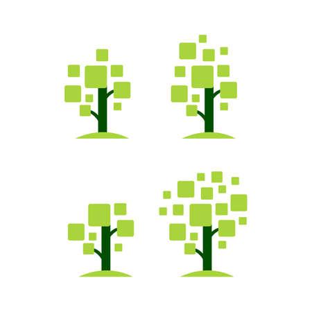 tech modern digital tree logo design grow business symbol concept vector