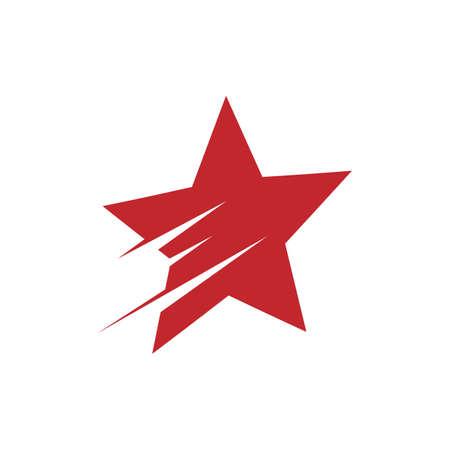 red shooting star logo vector design illustration Ilustração
