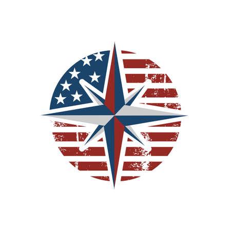 stylish american Creative Compass Logo design Concept Design vector Icon Template