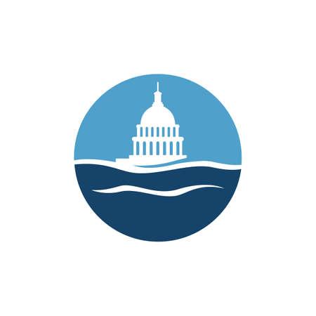 simple water and capitol building vector logo design Ilustração