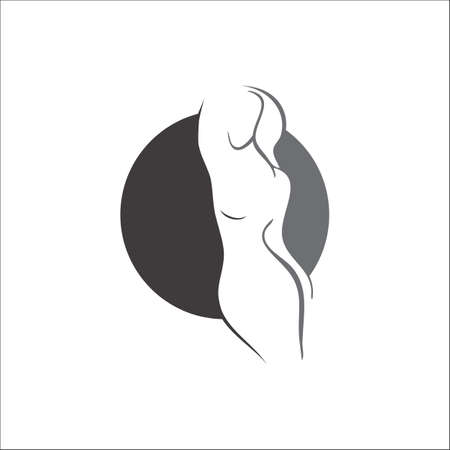 silhouette of beauty woman vector logo for fitness diet spa health yoga beauty company