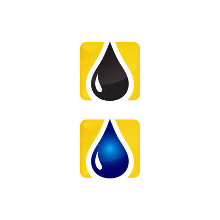 oil Water droplet Logo design sign icon vector template Ilustracja