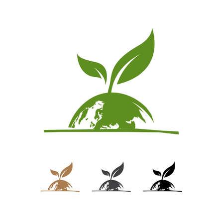 eco green leaf global globe logo design vector illustrations Ilustracja