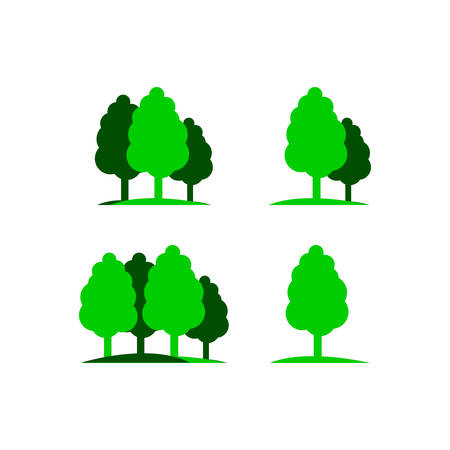 Set of silhouette tree logo vector graphics elements