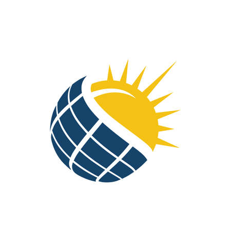 Sun Energy Solar panels logo house and template for green power and natural electricity