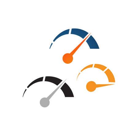 creative gauge speedometer speed logo design vector element