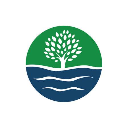 Silhouette Wasser und Baum Logo Vektorgrafik-Elemente