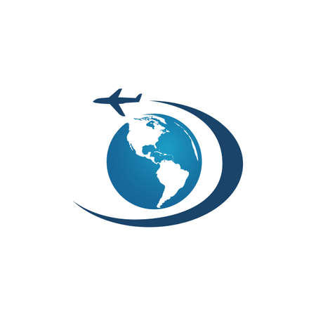 travel globe and airplane logo vector icon illustrations