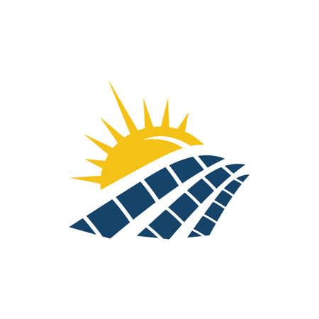 Sun Energy Zonnepanelen logo huis en sjabloon voor groene stroom en natuurlijke elektriciteit