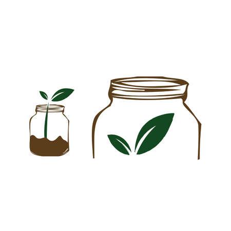 jars and leaf concept an organic food logo design vector illustrations Ilustracja