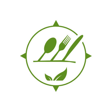 vegan logo a vegetarian vector icon with spoon fork and leaf graphic design element Ilustracja