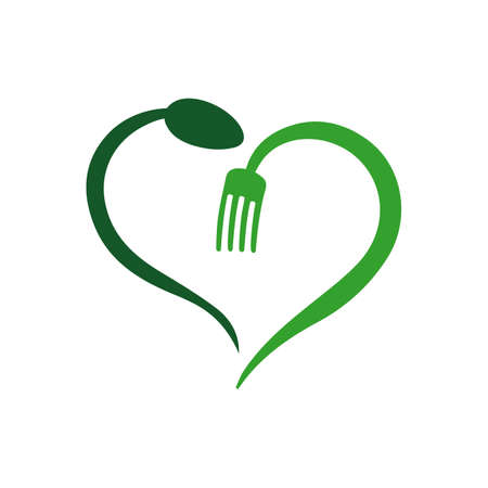 vegan vegetarian logo vector icon with spoon fork and leaf graphic design element