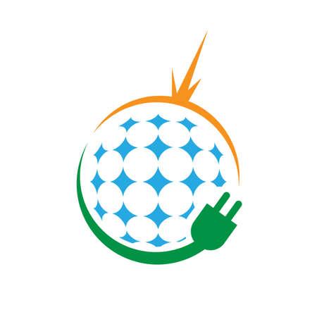 sign of solar alternative renewable energy logo design vector illustrations