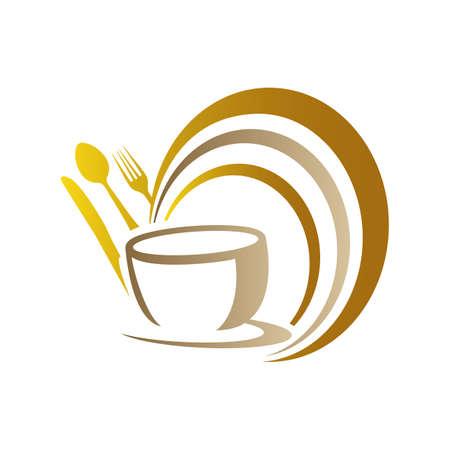 Food Restaurant Kitchenware Logo spoon fork plate mug Vector Image Çizim