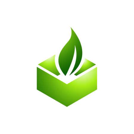 eco friendly renewable green packaging icon logo design vector symbol illustration